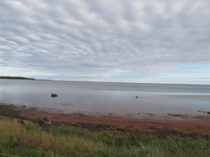This is the view from the camp ground we chose on PEI.   I found the tides were not as extreme as in many other places down through Maine