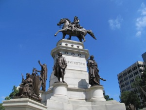 Monument at the state capitol in Richmond.  Note the casket box under the horse