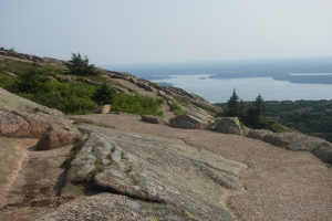 A view of Bar Harbor from the top of Cadillac Mountain (made of pink granite) in Acadia National Park