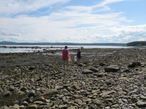 "Beach combing for cool rocks, clam shells and mermaid tears (sea glass) along the shore a block from our beautiful ""summer Home"".  The tides in Maine are 30' to 50' twice a day."