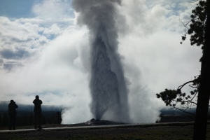 Old Faithful erupting taken by Sweet Husband