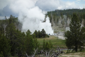 The Grand Geyser erupting in the distance.  Notice the size of the people next to it.