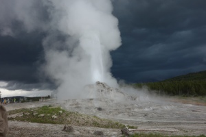 Castle Geyser with storm approaching
