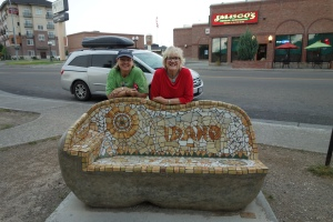 Me and Tee-Gie by potato bench in Idaho Falls...our trusty minivan behind us