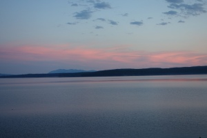 Yellowstone Lake, view from the lodge - sunset