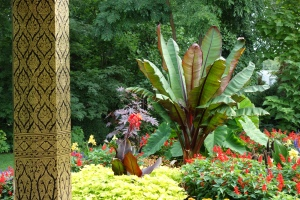 Rich, colorful tropical garden around the Pavilion (how they protect it in the winter is a mystery).
