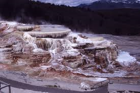 Mammoth Hot Springs.  Called for it shear size.  It is constantly flowing and growing with mineral deposits.