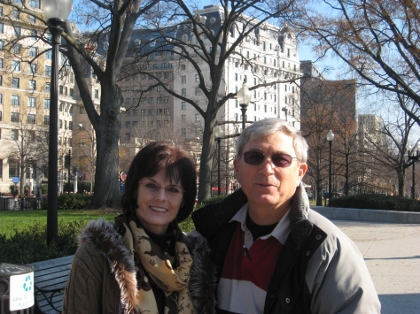 Kay & Toby with The Willard Hotel behind them.